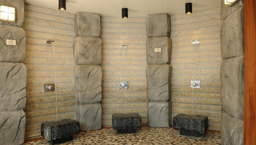 Showers in the Japanese bathhouse.