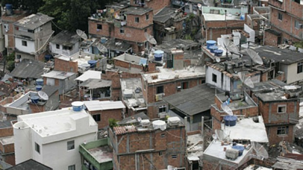 A view of Santa Marta slum in Rio de Janeiro - one of many favelas to have been 'pacified'.