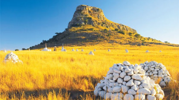 Cairns mark the battlefield of Isandlwana in KwaZulu-Natal.