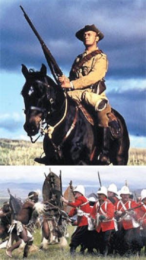 For God and country ... (top) Edward Woodward in <em>Breaker Morant</em>;  (bottom) a battle re-enactment between the ...