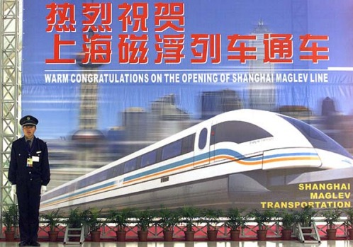 A huge billboard marks MagLev's launched in Shanghai in 2002.