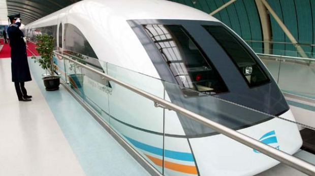 The world's fastest train, Shanghai's MagLev, runs from Pudong International Airport into Shanghai, reaching speeds well ...