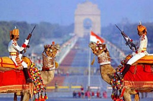 Guards in front of India Gate, Delhi.