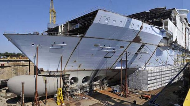 Allure of the Seas during the early stages of construction.