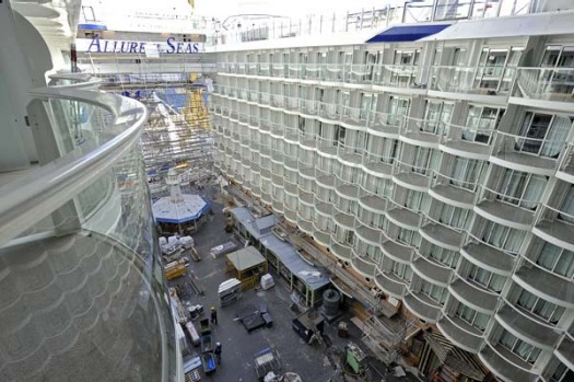 View to the Boardwalk at the rear of the Allure of the Seas.
