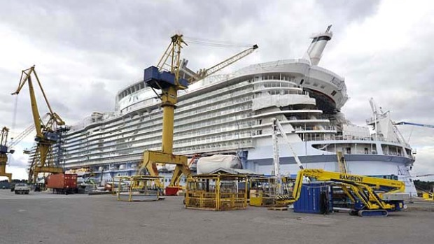 Allure of the Seas is 360 metres long, weighs 225,000 gross tonnes and can carry 8565 passengers and crew on 16 decks totalling 25 hectares.