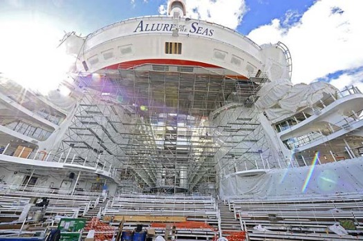 Allure of the Seas is bigger than its sister, Oasis of the Seas, but just 5mm, making it the world's largest cruise ship.