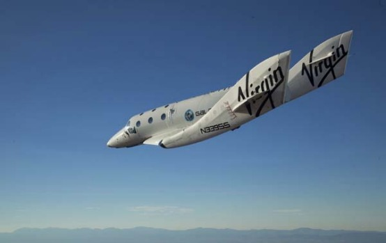SpaceShipTwo was carried aloft 13,700 metres by its mothership and released over the Mojave Desert.