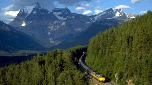 Mountain magic ... the Canadian rumbles through the Rockies.