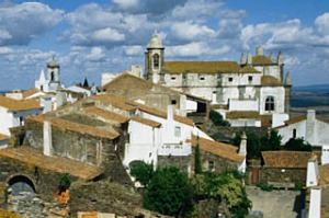 Tiled rooftops of a cluster of houses, as seen from the Castelo - Monsaraz, Alto Alentejo, Portugal