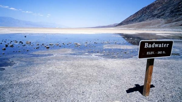 Swing low ... Badwater Lake in Death Valley.