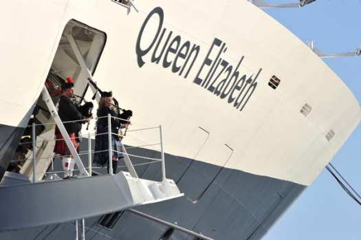 The Queen Elizabeth during the ship's naming ceremony.