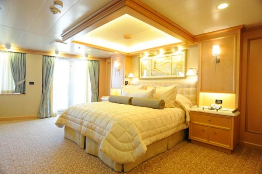 A grand suite on board the Queen Elizabeth.