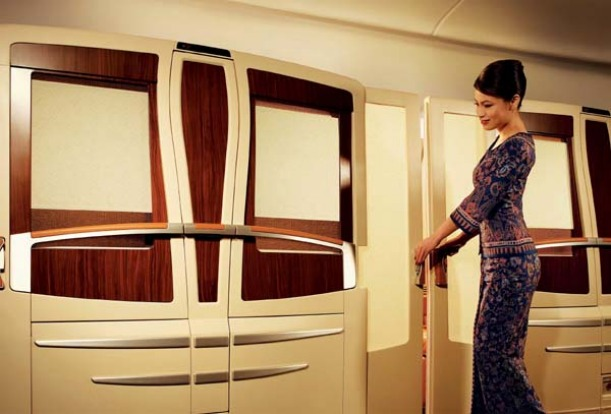 Singapore Airlines offers private 'suites' for first class passengers on board its A380 superjumbos.