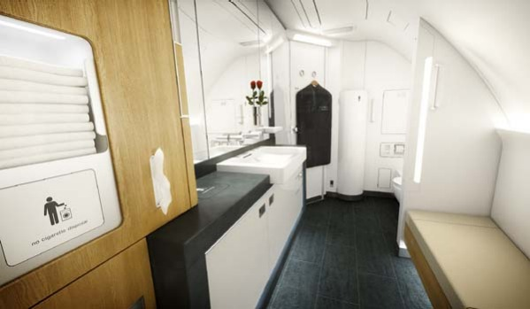 Lufthansa's first class cabin on board the A380 offers a spacious toilet and changing area.