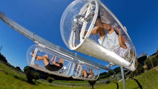 Triple kicks ... get your adrenalin pumping with Swooping, Shweebing (pictured) or Zorbing in Rotorua.