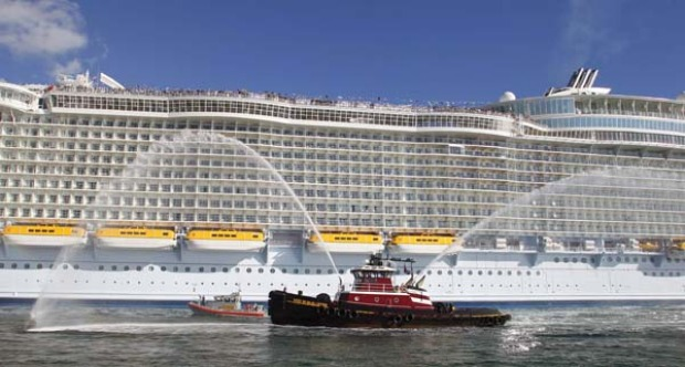 Allure of the Seas, the world's largest cruise ship, arrives at its new home in Florida.