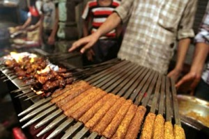 Sizzle and grill ... kebabs in Old Delhi.