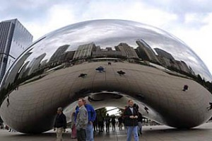 Anish Kapoor's Cloud Gate in Chicago.
