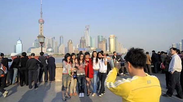 Set-up ... tourists get into the frame in Shanghai.
