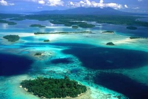 Dazzling ... the blues and greens of the Pacific surrounding the Solomon Islands.