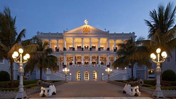 Heaven on Earth ... Falaknuma Palace's grand facade takes cues from 19th-century European designs.