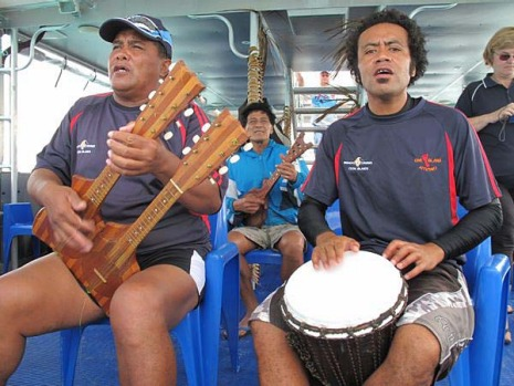 Being serenaded by ukulele in the Cook Islands.