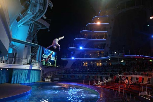 A diver performs in the Allure of the Seas's Aquatheatre show.