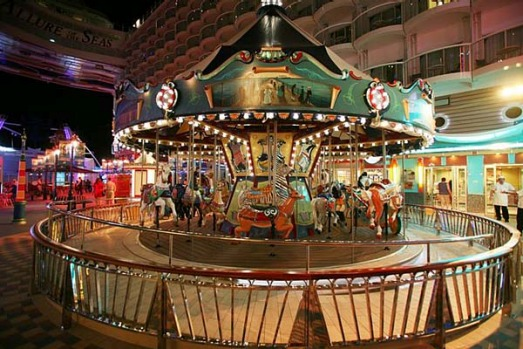 Allure of the Seas's boardwalk and carousel.