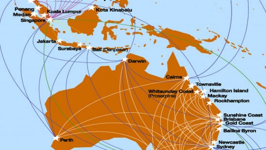 Jetstar's latest route map showing its new Singapore hub. Source: Jetstar