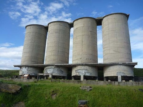 The historic but hideous concrete silos at Maria Island - the only eyesore in an otherwise beautiful place.