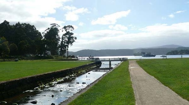 Convicts at Port Arthur spent 20 years reclaiming about 100 metres of  land from the water by felling trees and backfilling the lumber with rocks and soil.