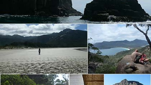 Top clockwise:  Bruny Island;  Wineglass Bay,  Cape Raoul; The Painted Cliffs; the avenue of macrocarpa pine trees at ...