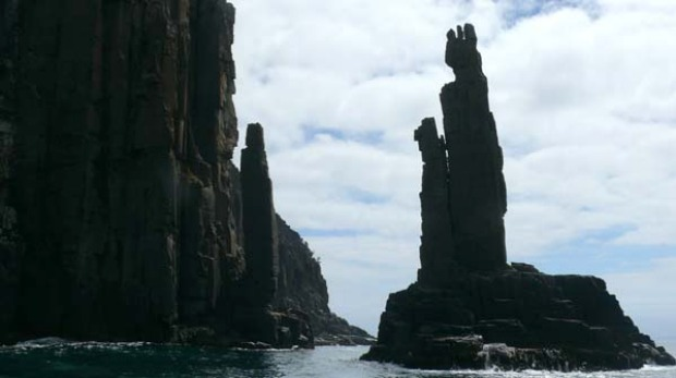The dolerite columns, like ancient scultures, around the coast of Bruny Island.