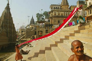 Laundry day ... women chat while their saris dry on the ghats of the Ganges.