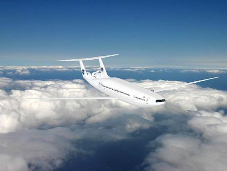 The 180-passenger D8 'double bubble' configuration, by Massachusetts Institute of Technology, fused two aircraft bodies ...