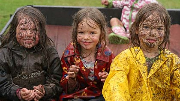 Mud pack ... Summer Lees and Rosey and Mia Elliott go driving.