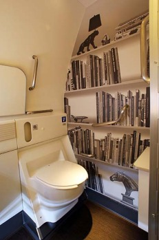 The toilets on board the Air New Zealand Boeing 777 feature fake bookshelves and chandeliers.
