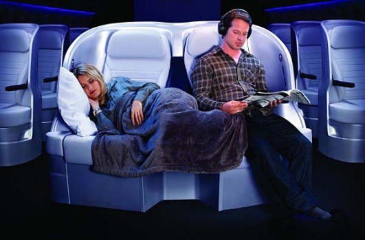 The middle row of premium economy seats is designed for couples.