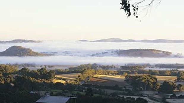 Cloud nine ... a shrouded Woodend in the heart of the Macedon Ranges.