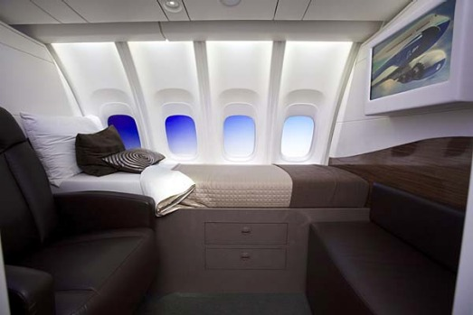 A mock up of a berth on the plane's upper deck.