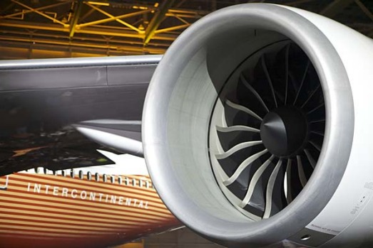 The GE engine of the new Boeing 747-8 Intercontinental.