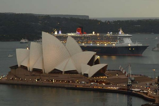 One of the ships is seen behind the Opera House.