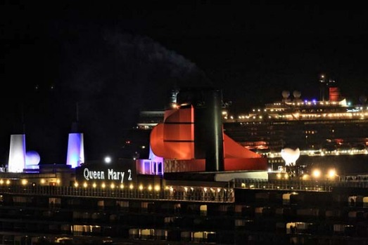 Queen Mary 2 followed by Queen Elizabeth enter Sydney Heads this morning.