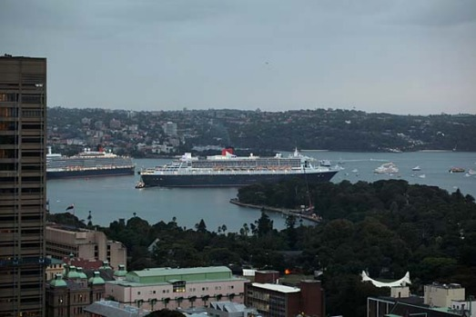 The Queen Elizabeth and Queen Mary 2 meet in Sydney Harbour.