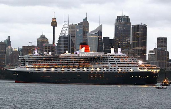 The Queen Mary 2 enters Sydney Harbour this morning.