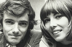 Travel authors Tony and Maureen Wheeler with their book 'Across Asia on the Cheap', 8 November 1973.