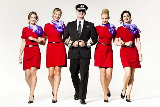 Virgin Blue's new flight attendant and pilot uniforms.