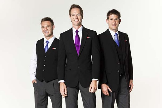 Virgin Blue's new male flight attendant uniforms.