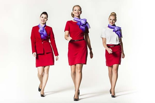 The new Virgin Blue uniforms for cabin crew and ground staff were designed by Project Runway winner Juli Grbac.